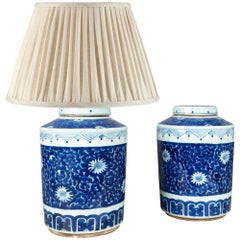 Pair of Porcelain Blue and White Ginger Jars Mounted as Table Lamps