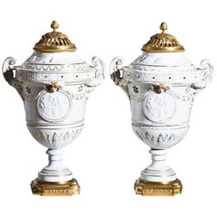 Pair of Porcelain Brûle Perfum or Scent Vessels, Probably, Italy, 19th Century