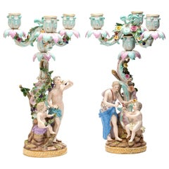 Pair of Porcelain Candelabra