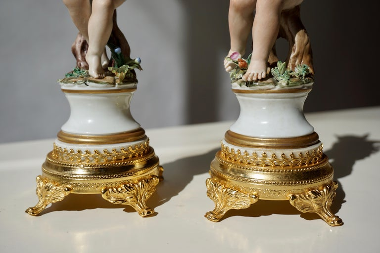 Pair of Porcelain Capodimonte Cherubs 20th Century Polychrome Putti Figures For Sale 10