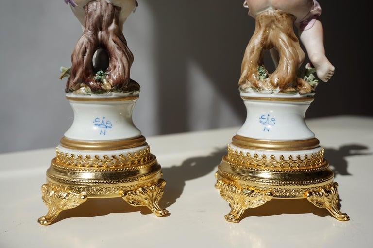 Pair of Porcelain Capodimonte Cherubs 20th Century Polychrome Putti Figures For Sale 12