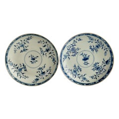 Pair of Porcelain Chinese Export Plates, Blue and White Flowers, Kangxi, ca 1730