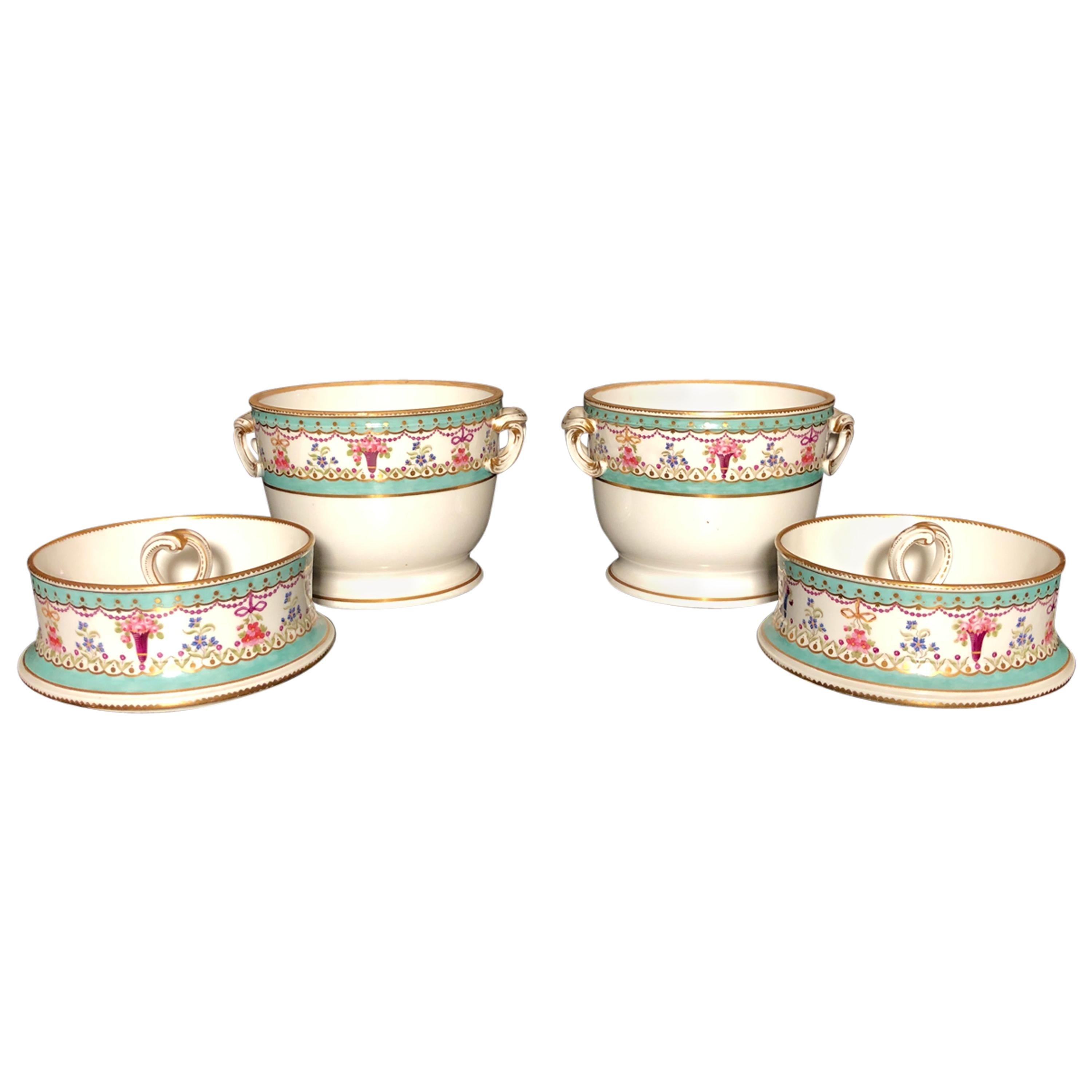 Pair of Porcelain Continental Fruit Coolers