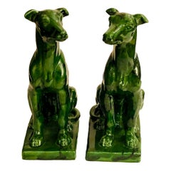 Pair of Porcelain Dog Sculptures