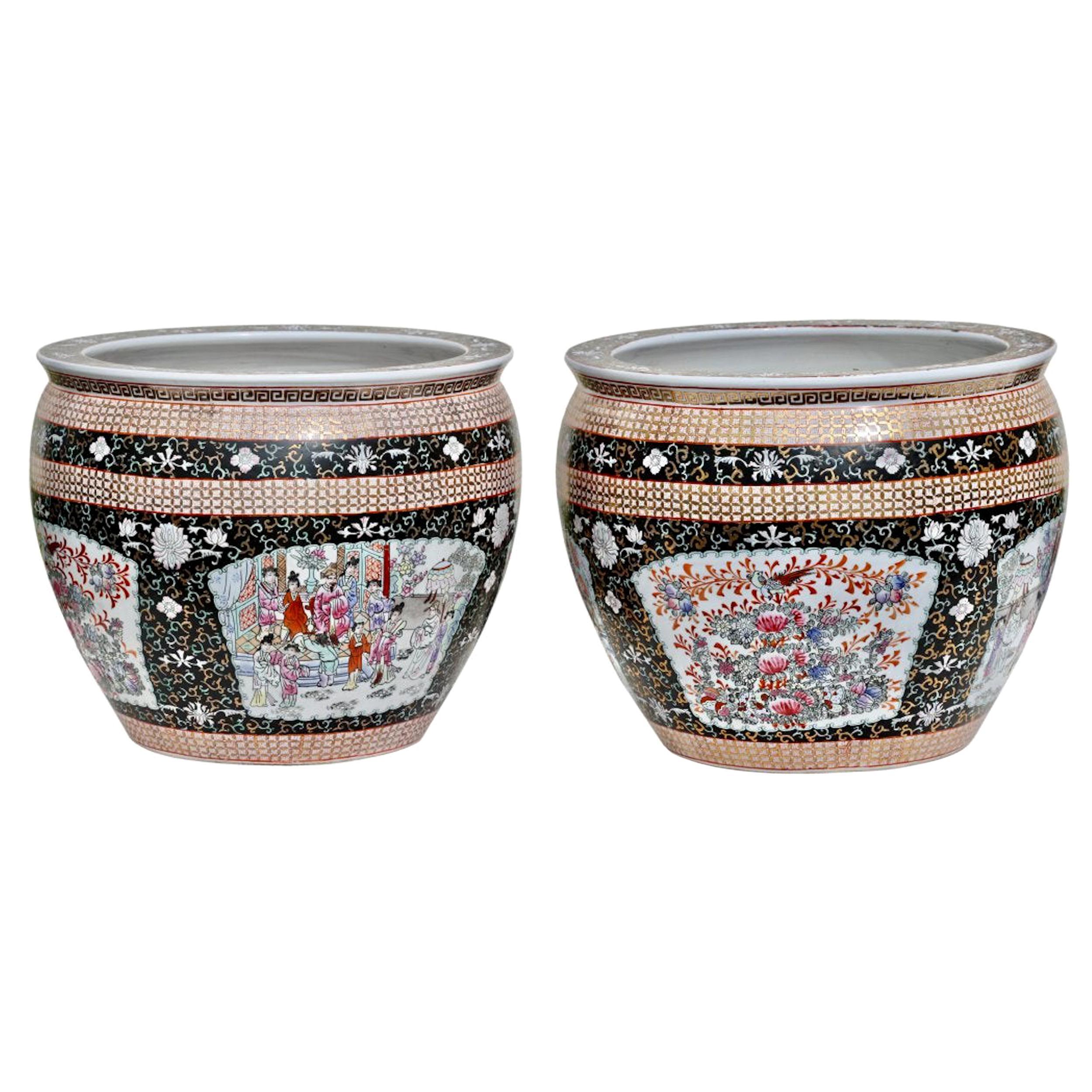 Pair of Porcelain Fish Bowls