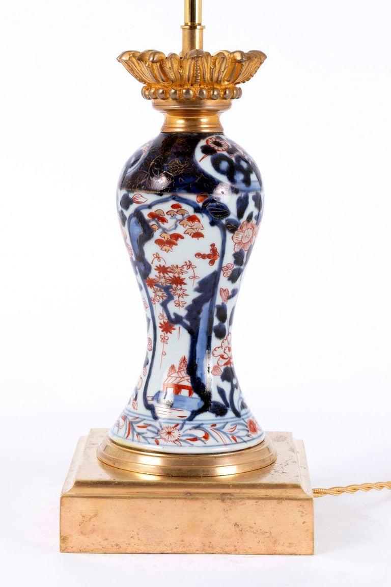 Chinoiserie Pair of Porcelain Lamps with Imari Decor, Late 19th Century For Sale