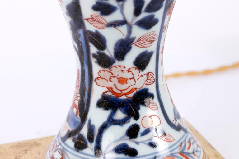 Pair of Porcelain Lamps with Imari Decor, Late 19th Century For Sale 2