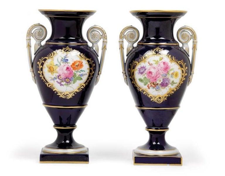 Baroque Pair of Porcelain Meissen Cobalt Blue Vases, 1960 For Sale