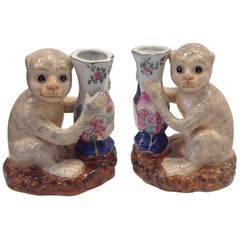 Pair of Porcelain Monkey Form Vases