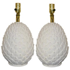 """Pair of Porcelain """"Pineapple"""" Table Lamps"""