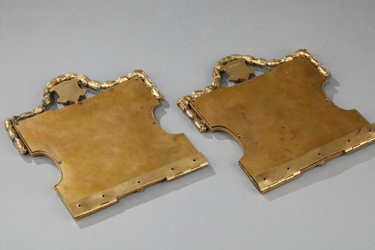 Pair of Porcelain Portrait, 19th Century Gilded Bronze Frame Signed A.Giroux For Sale 8