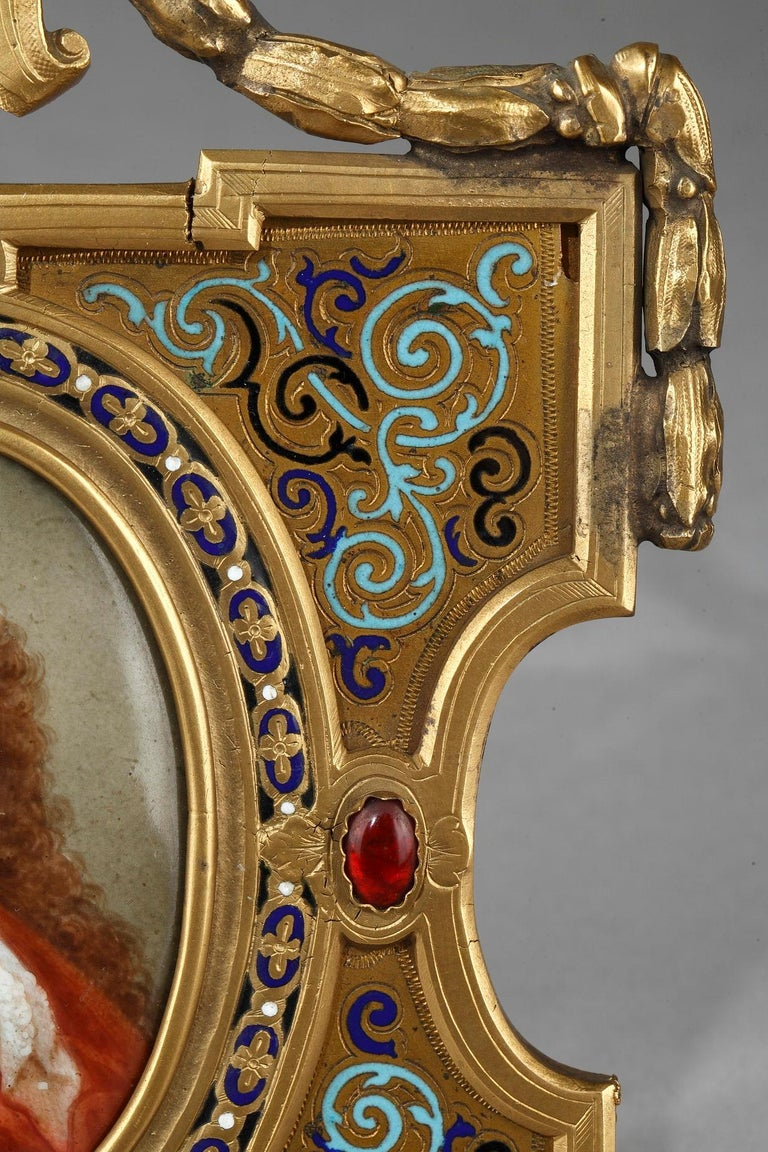 Mid-19th Century Pair of Porcelain Portrait, 19th Century Gilded Bronze Frame Signed A.Giroux For Sale