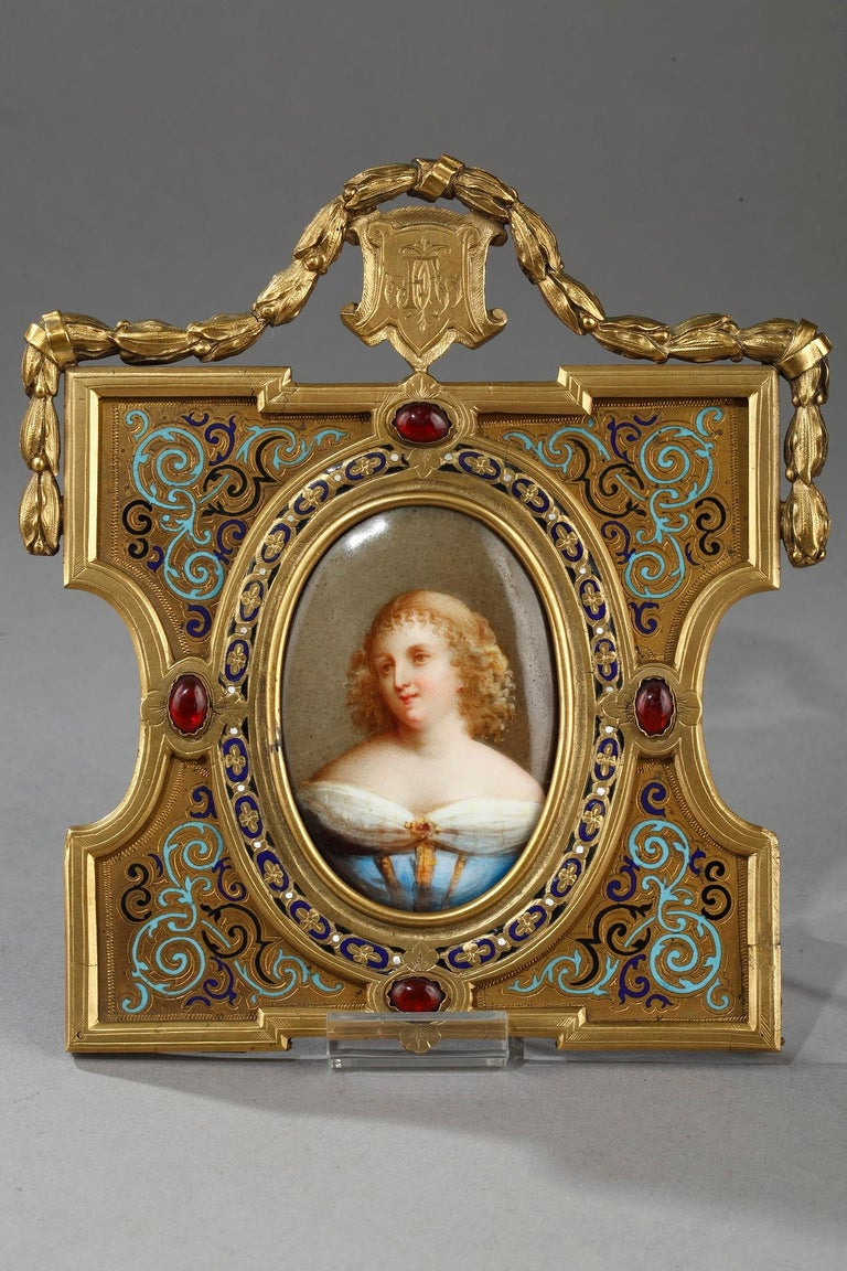Pair of Porcelain Portrait, 19th Century Gilded Bronze Frame Signed A.Giroux For Sale 3