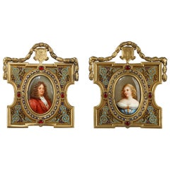 Pair of Porcelain Portrait, 19th Century Gilded Bronze Frame Signed A.Giroux