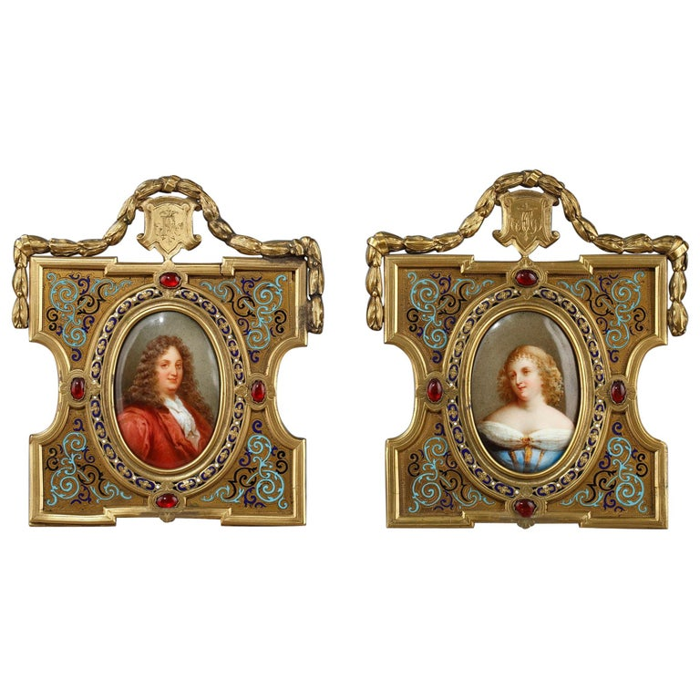 Pair of Porcelain Portrait, 19th Century Gilded Bronze Frame Signed A.Giroux For Sale