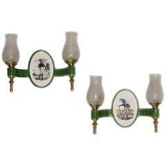Pair of Porcelain Sconces with Soldiers
