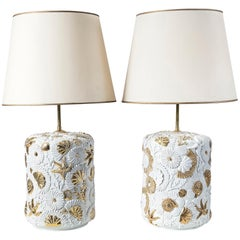 Pair of Porcelain Table Lamps, Porcellane San Marco Manufacture, Italy