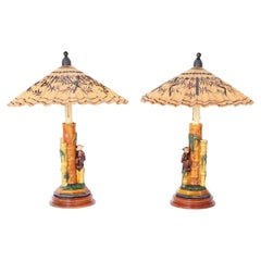 Pair of Porcelain Table Lamps with Monkeys and Umbrella Shades