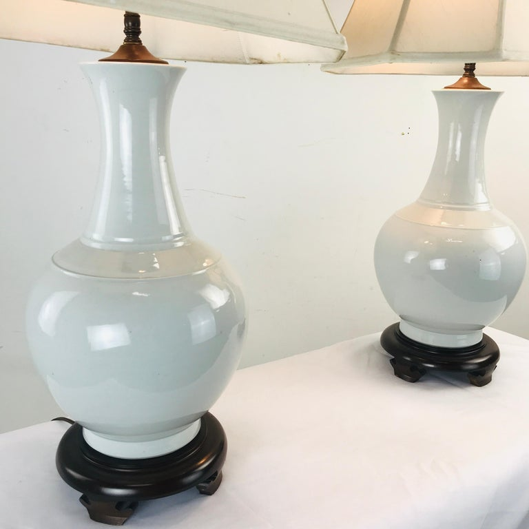 American Pair of Porcelain Vase Lamps For Sale