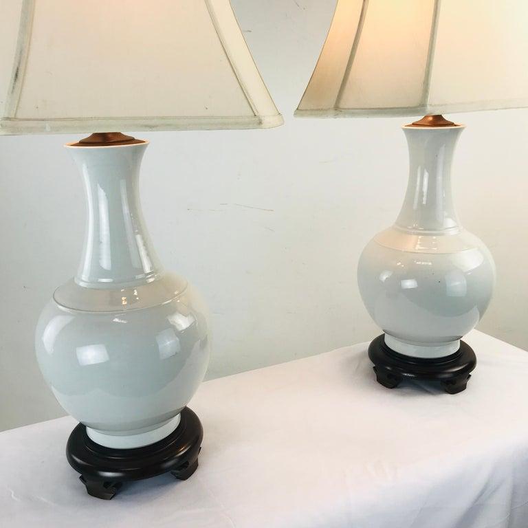Woodwork Pair of Porcelain Vase Lamps For Sale