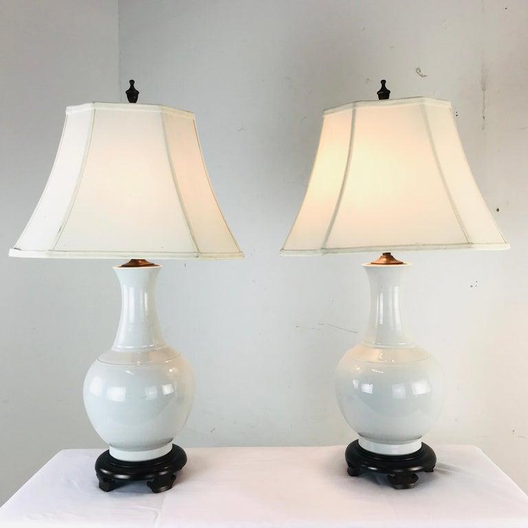 20th Century Pair of Porcelain Vase Lamps For Sale