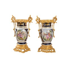Pair of Porcelain Vases and Hand Painted Decor and Golden Bronze Mount, Napoleon