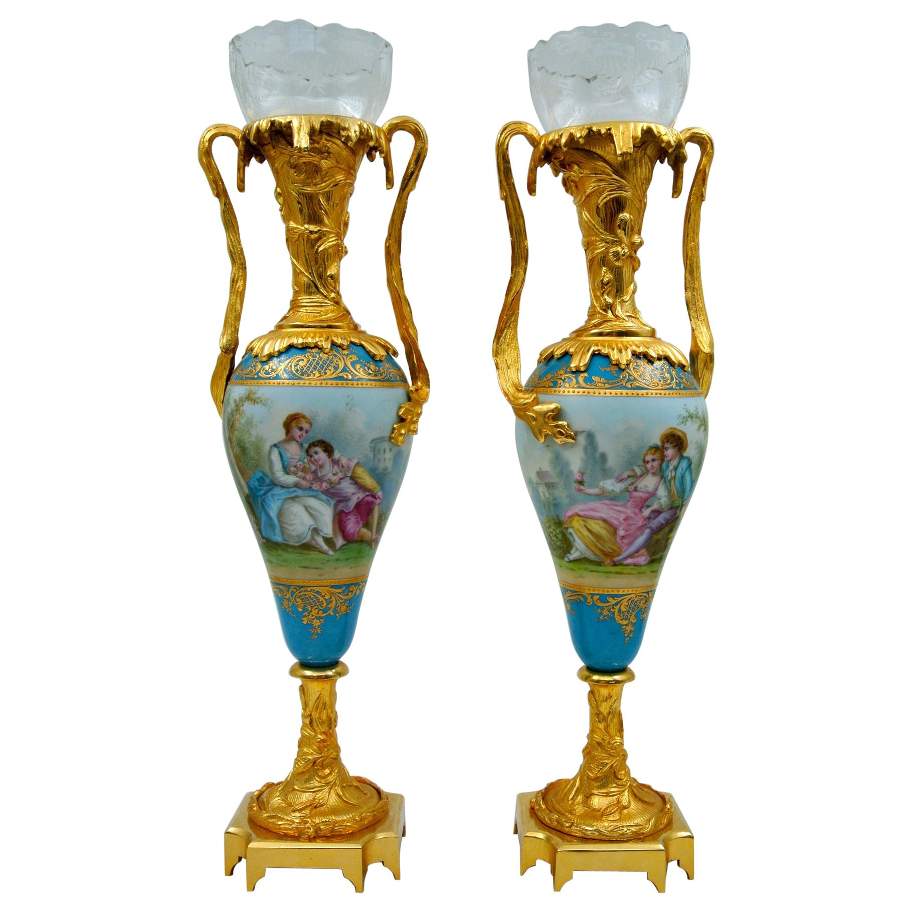 Pair of Porcelain Vases, Gilded Bronze and Crystal