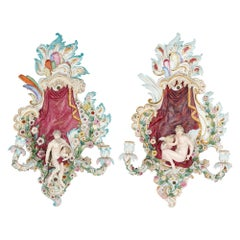 Pair of Porcelain Wall Sconces by Meissen