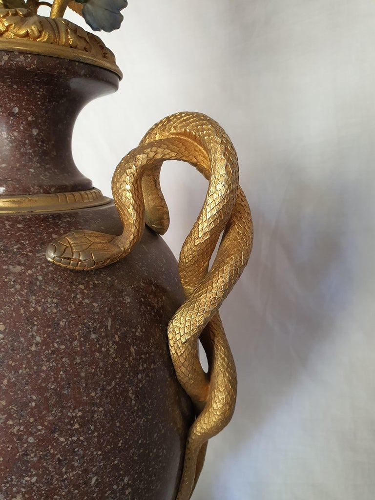 19th Century Pair of Egyptian Porphyry Vases and Vessels Porcelain Gilded Bronze For Sale 4