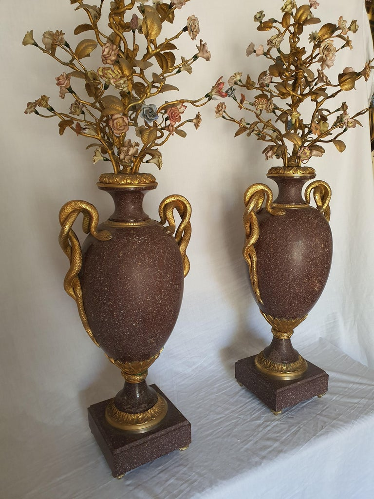 Gilt 19th Century Pair of Egyptian Porphyry Vases and Vessels Porcelain Gilded Bronze For Sale