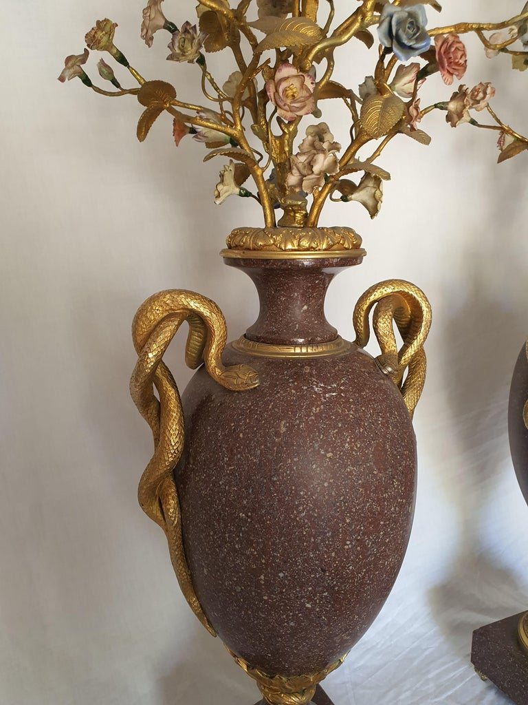 19th Century Pair of Egyptian Porphyry Vases and Vessels Porcelain Gilded Bronze For Sale 1