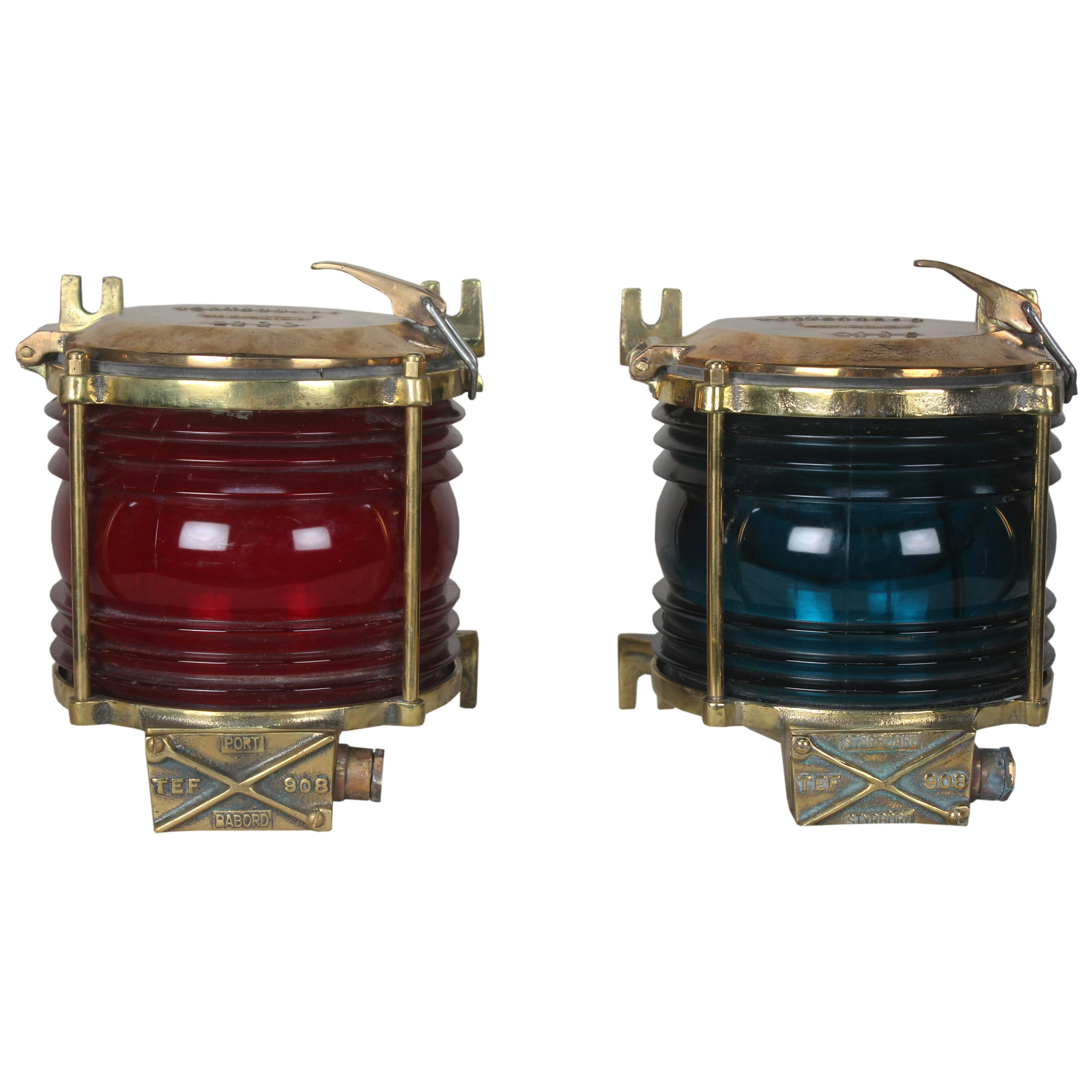 Pair of Port and Starboard Brass Side Light Sconces or Table Lights