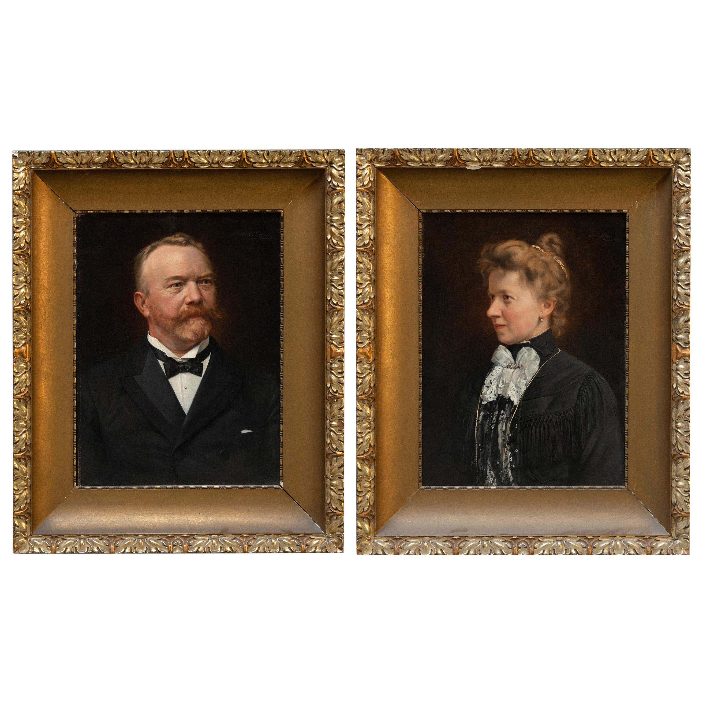 Pair of Portraits Antique Oil Paintings in Original Frames