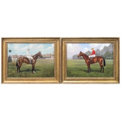 Pair of Portraits of Two Jockeys and Racehorses