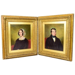 Pair of Portraits Oil on Cardboard Mid 19th Century Victorian with Gilded Frames