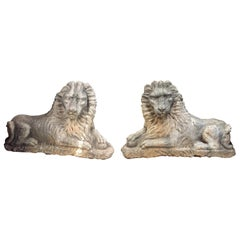 Pair of Portuguese Carved Stone Lions, 18th Century