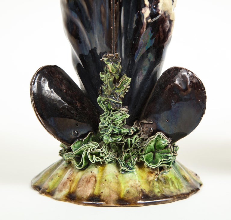 Pair of Portuguese Majolica Mussels Spill Vases For Sale 1