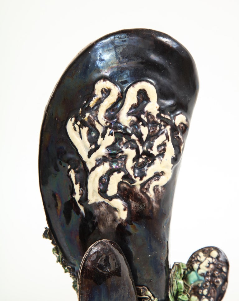 Pair of Portuguese Majolica Mussels Spill Vases For Sale 2