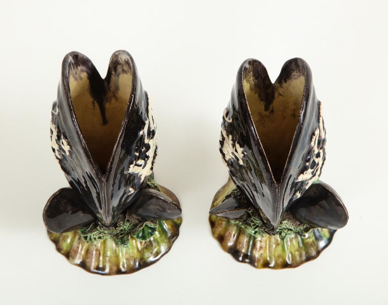 Pair of Portuguese Majolica Mussels Spill Vases For Sale 5