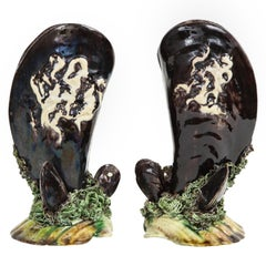 Pair of Portuguese Majolica Mussels Spill Vases