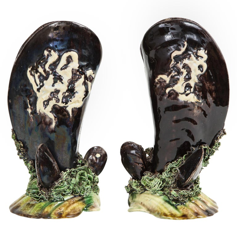 Pair of Portuguese Majolica Mussels Spill Vases For Sale