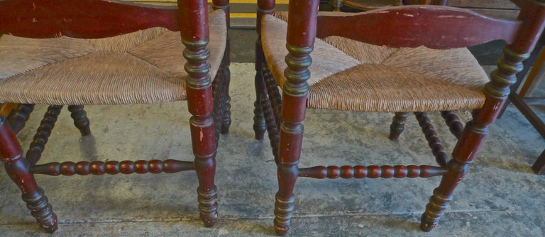 Pair of Portuguese Painted Ladder Back Armchairs with Rush Seat and Flower Motif For Sale 6