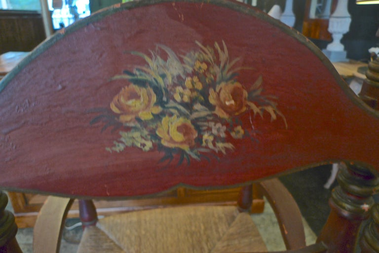 Pair of Portuguese Painted Ladder Back Armchairs with Rush Seat and Flower Motif For Sale 8