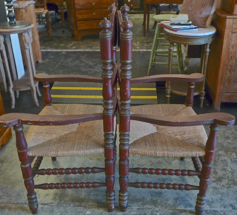 Hand-Painted Pair of Portuguese Painted Ladder Back Armchairs with Rush Seat and Flower Motif For Sale