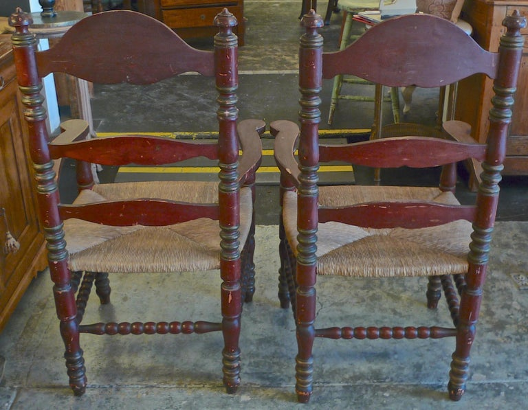 Pair of Portuguese Painted Ladder Back Armchairs with Rush Seat and Flower Motif In Distressed Condition For Sale In Santa Monica, CA