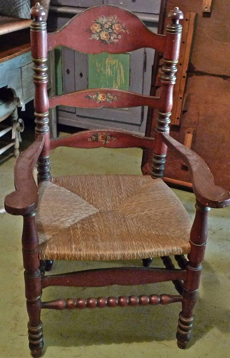 19th Century Pair of Portuguese Painted Ladder Back Armchairs with Rush Seat and Flower Motif For Sale