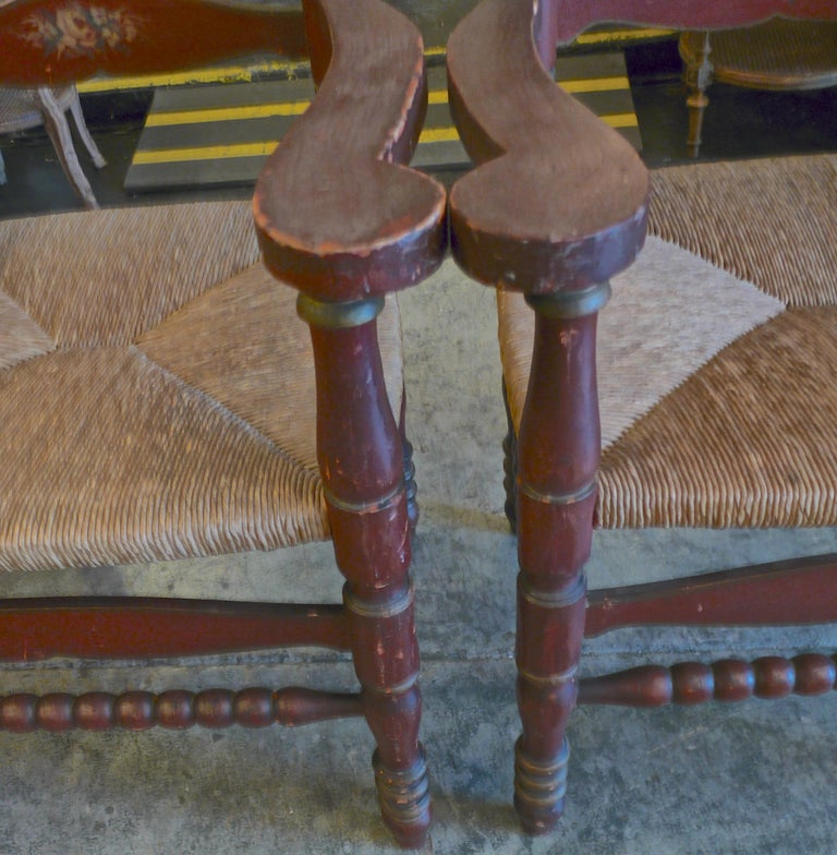 Pair of Portuguese Painted Ladder Back Armchairs with Rush Seat and Flower Motif For Sale 3