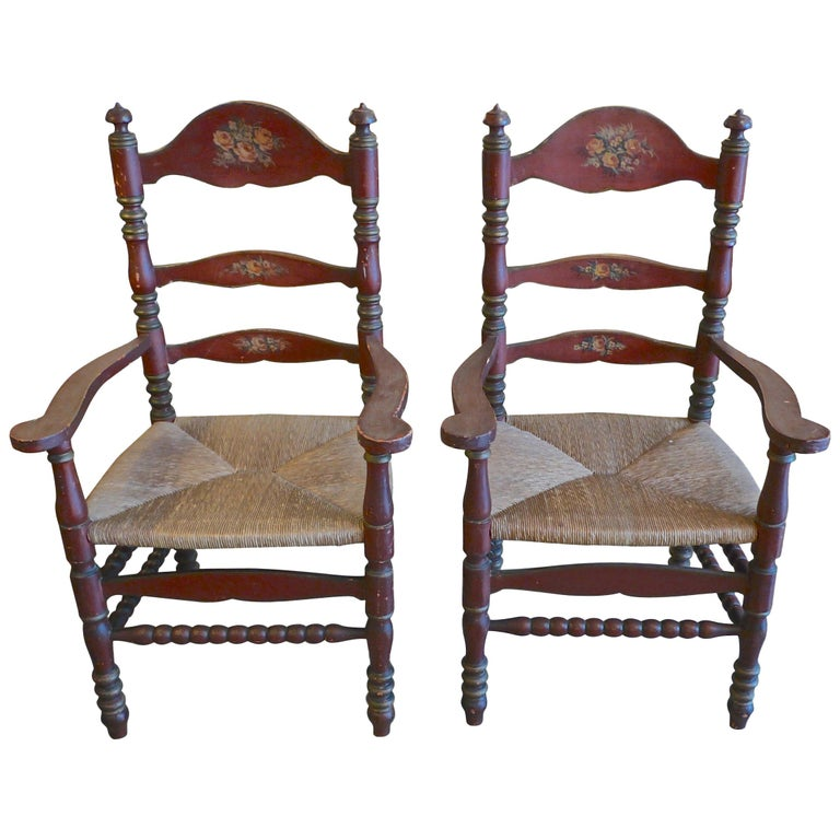 Pair of Portuguese Painted Ladder Back Armchairs with Rush Seat and Flower Motif For Sale