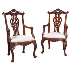 Pair of Portuguese Rosewood Armchairs in the English Chippendale Style