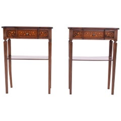 Pair of Portuguese Rosewood Bedside Tables with Marquetery